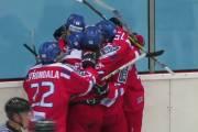 Čeští hokejisté se radují z gólu na Memoriálu Ivana Hlinky