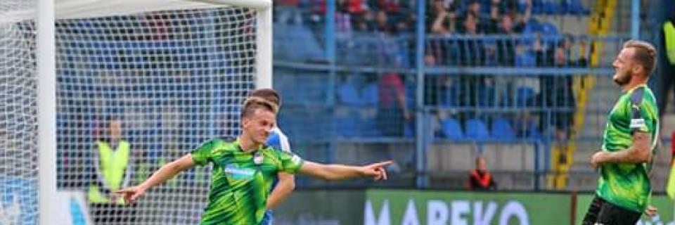 Jan Kopic slaví gól do sítě Liberce.