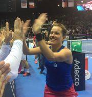 Barbora Strýcová po zisku 2. bodu pro Česko - Fed Cup 2016 - Finále