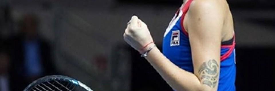 Karolína Plíšková po vítězství nad Kristinou Mladenovic - Fed Cup 2016 - Finále