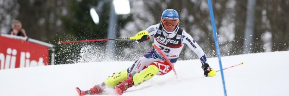 Český sjezdař Ondřej Berndt na závodech Světového poháru v Záhřebu