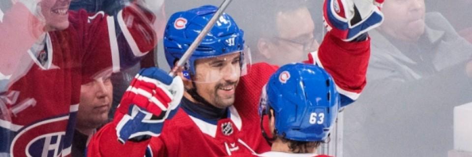 Tomáš Plekanec slaví svůj gól ve svém 1000. zápase NHL